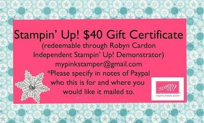 My Pink Stamper Stampin' Up! Gift Certificates