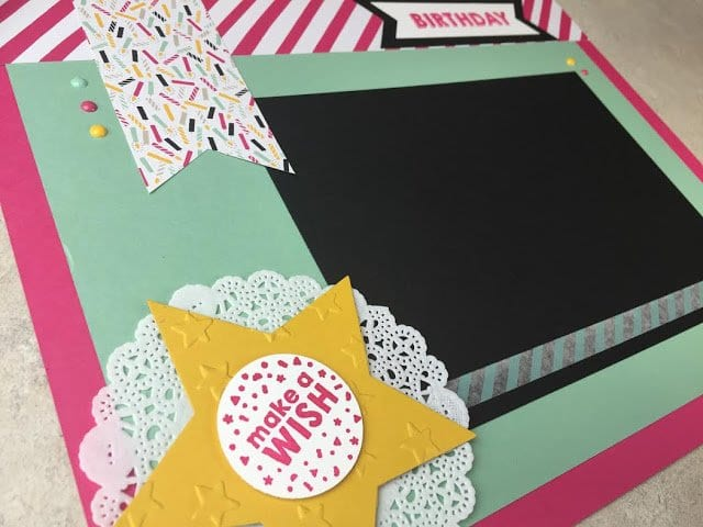 Traditional Scrapbook Layout using Stampin' Up!'s Party Wishes Stamp Set
