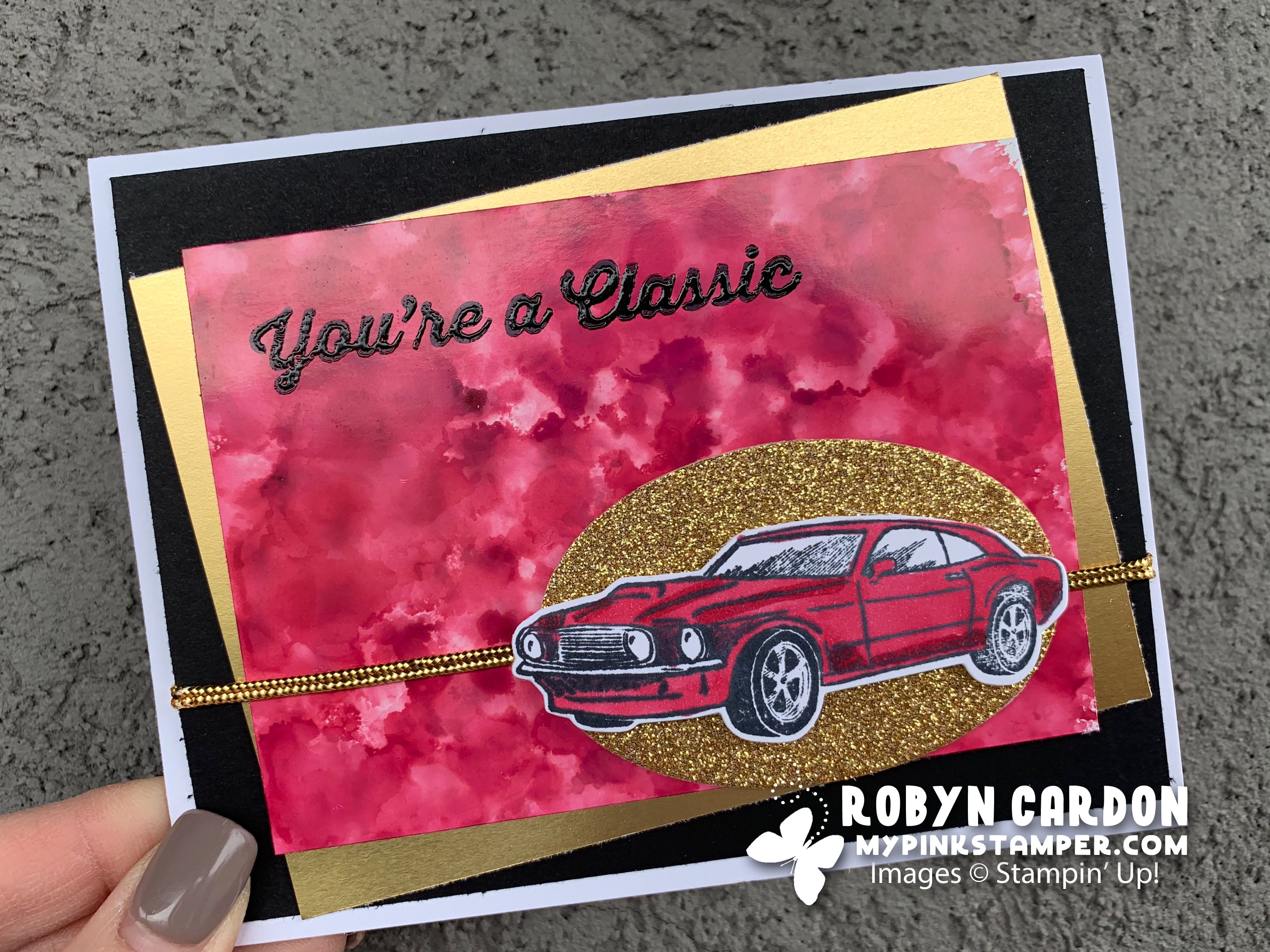 Fabulous Friday – Geared Up Garage Cherry, Black & Gold Card!