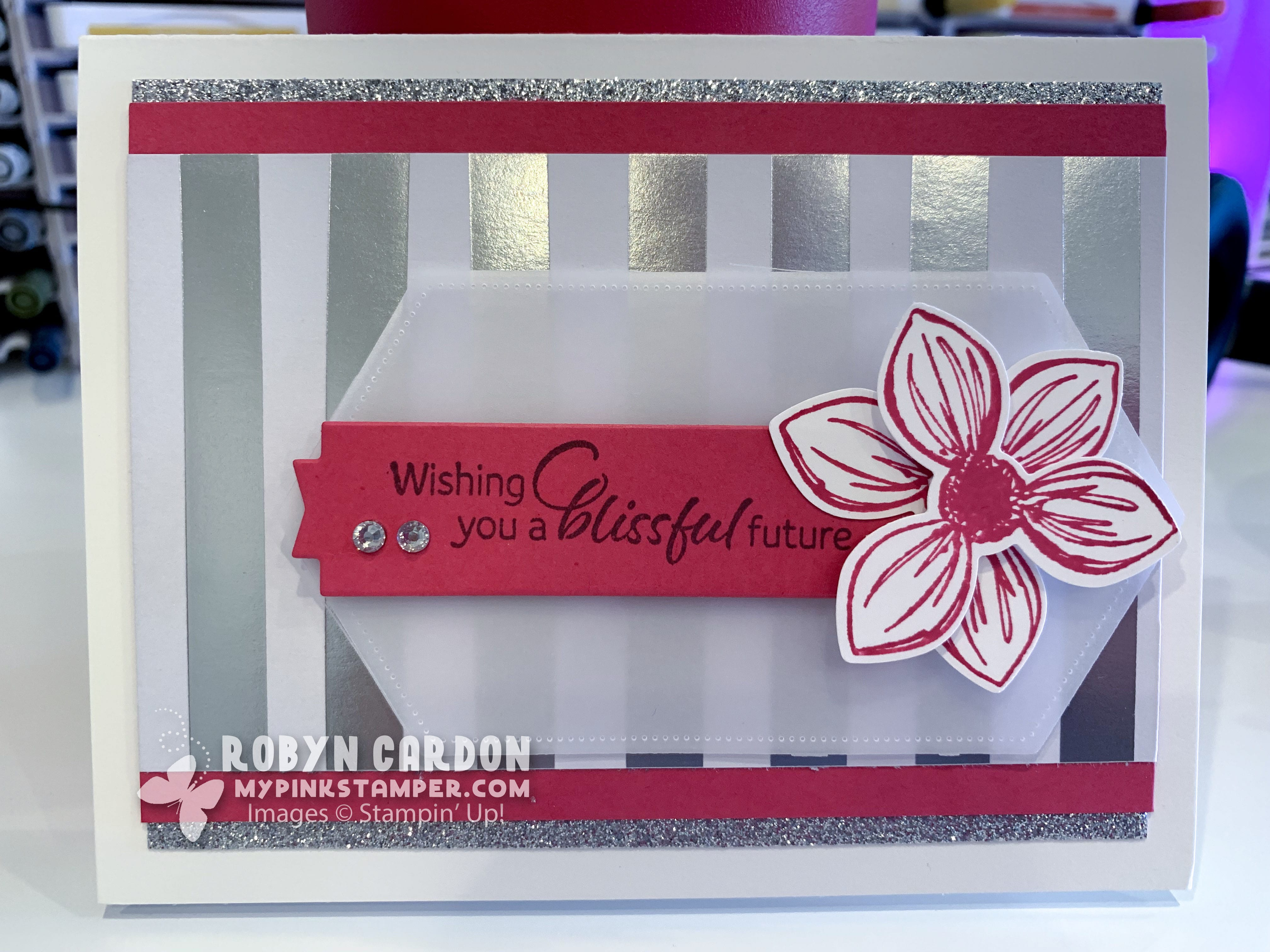{VIDEO}Stampin' Up! Floral Essence Pink & Silver Bling Card & My Pink Candy Giveaway!