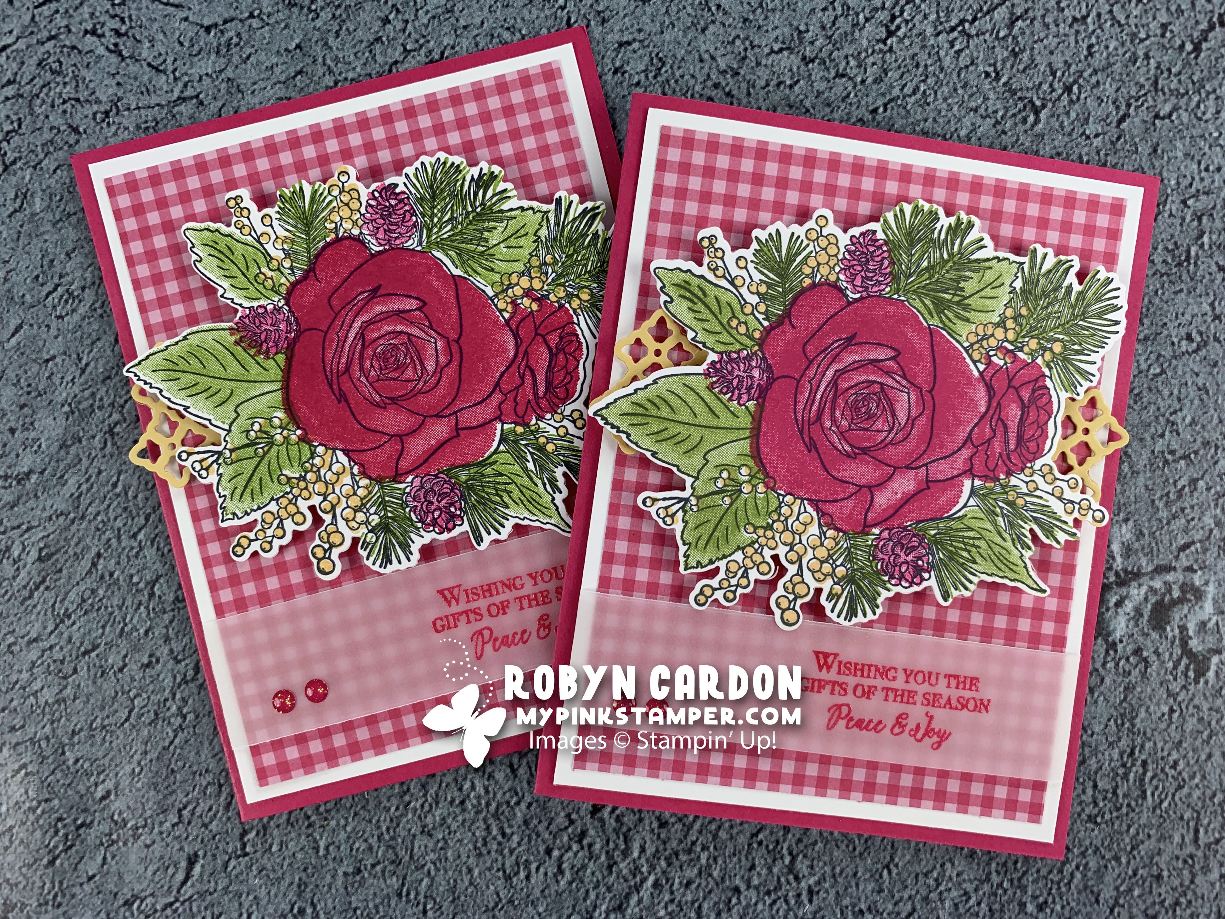 {VIDEO}Episode 733 – Stampin' Up! Christmas Rose Card & My Pink Candy Giveaway
