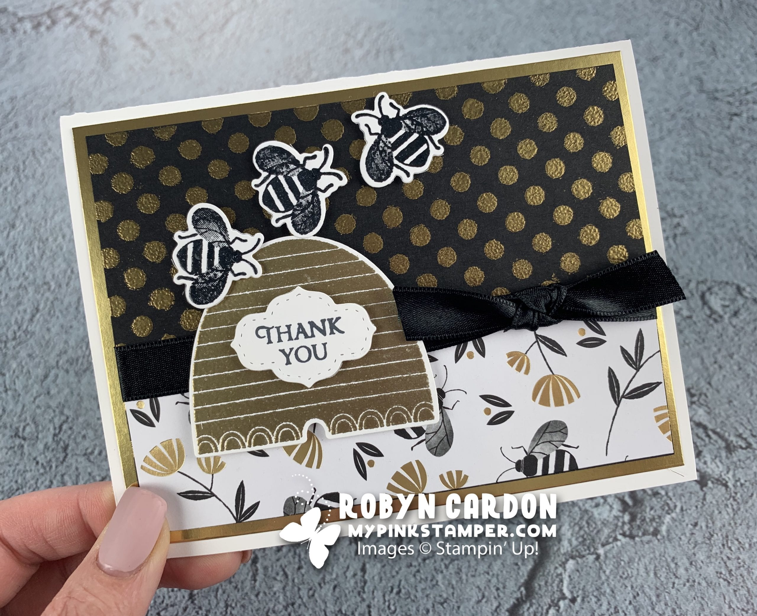 {VIDEO}Episode 750 – Stampin' Up! Honey Bee Embossed Card & My Pink Candy Giveaway & Winner