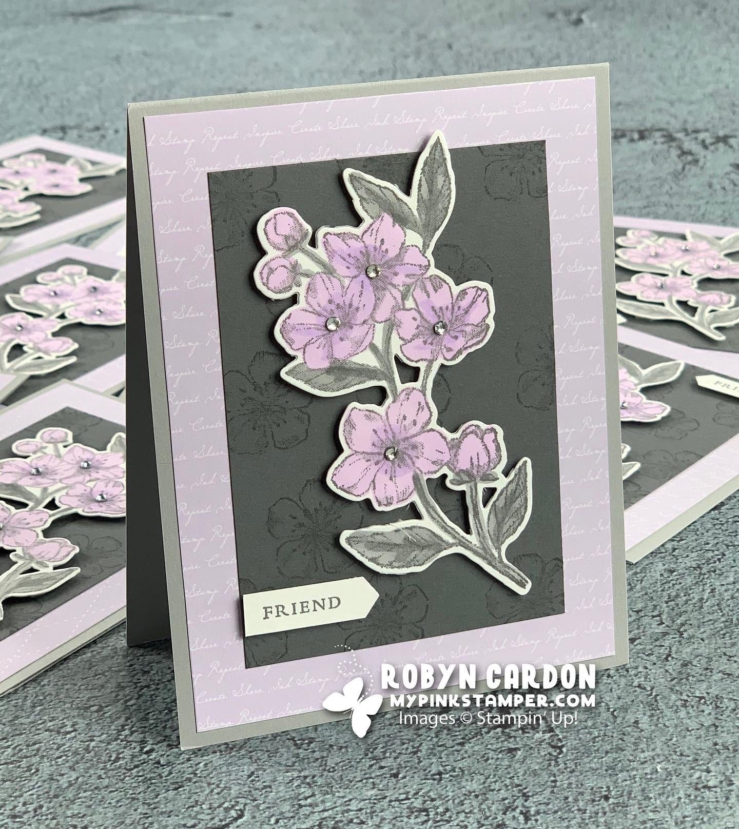 My Pink Candy Giveaway & Winner plus Stampin' Up!'s Forever Blossoms Posy & Gray Card
