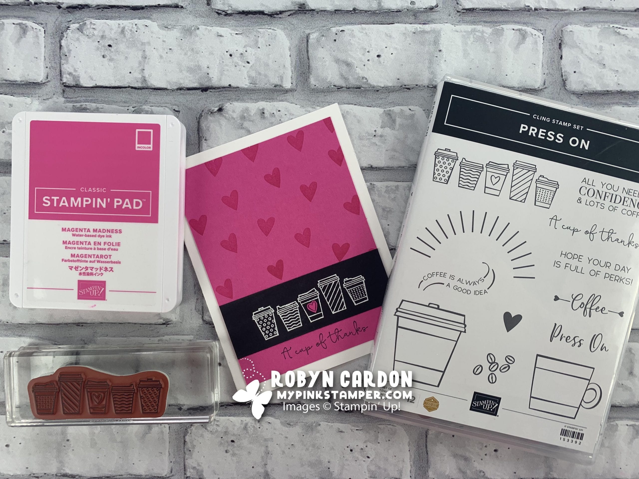 {VIDEO}Stampin' Up! Press On Pink & Black Card & NEW Holiday Catalog!