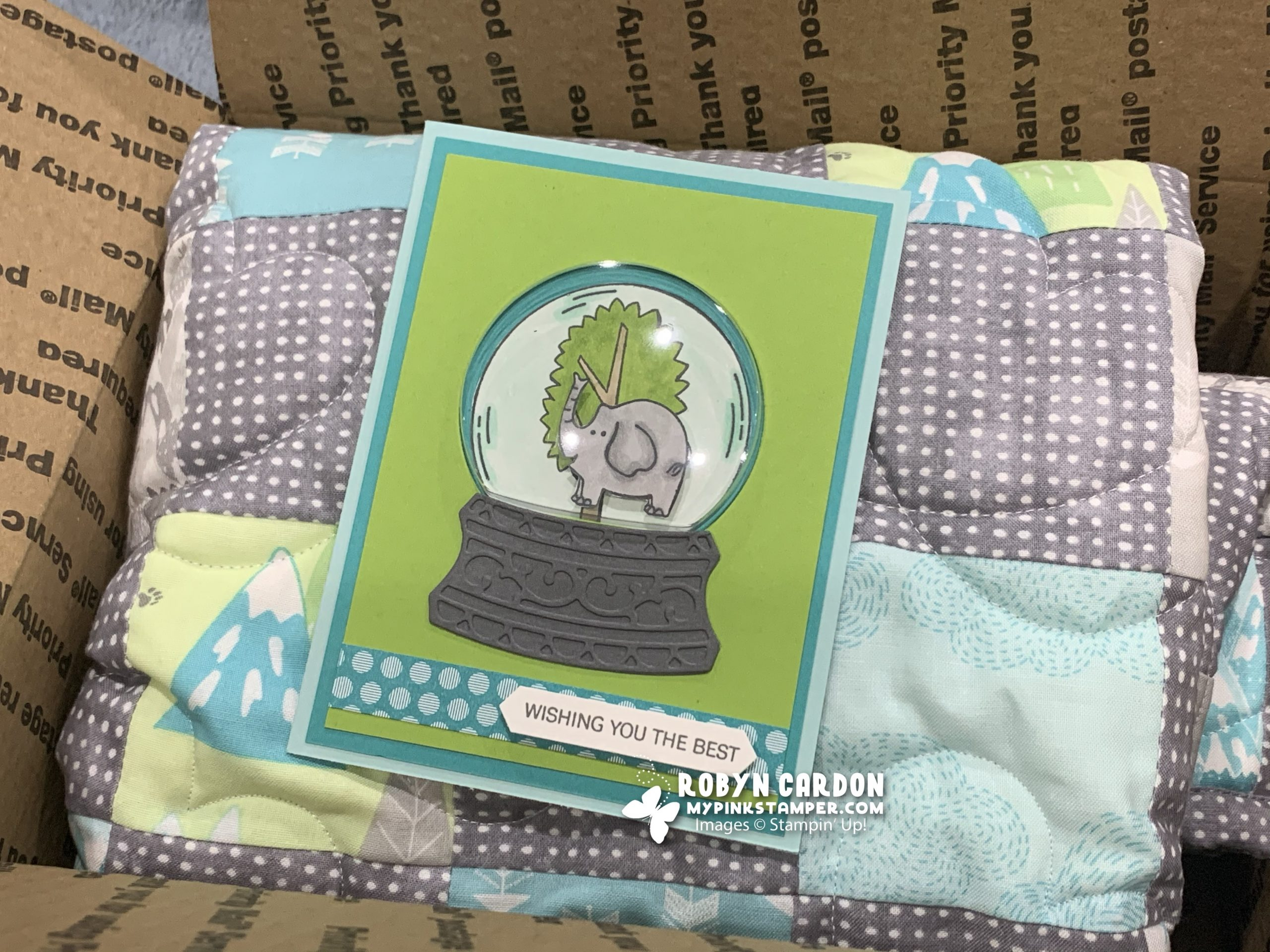 {VIDEO}Episode 803 – Stampin' Up! Zoo Globe Dome Card Tutorial & a Quilt!