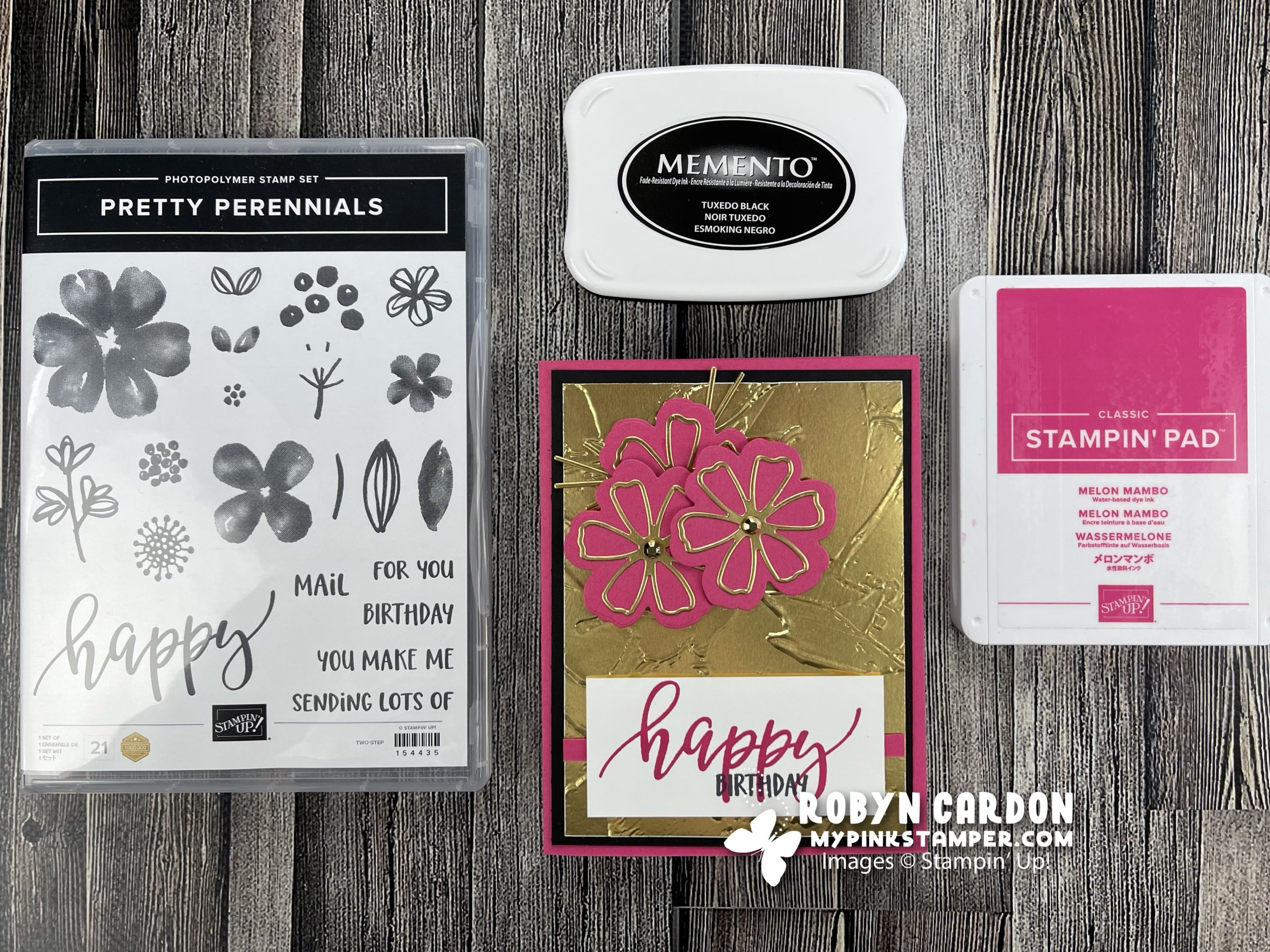{VIDEO}Episode 828 – Stampin' Up! Pretty Perennials Gold & Pink Card