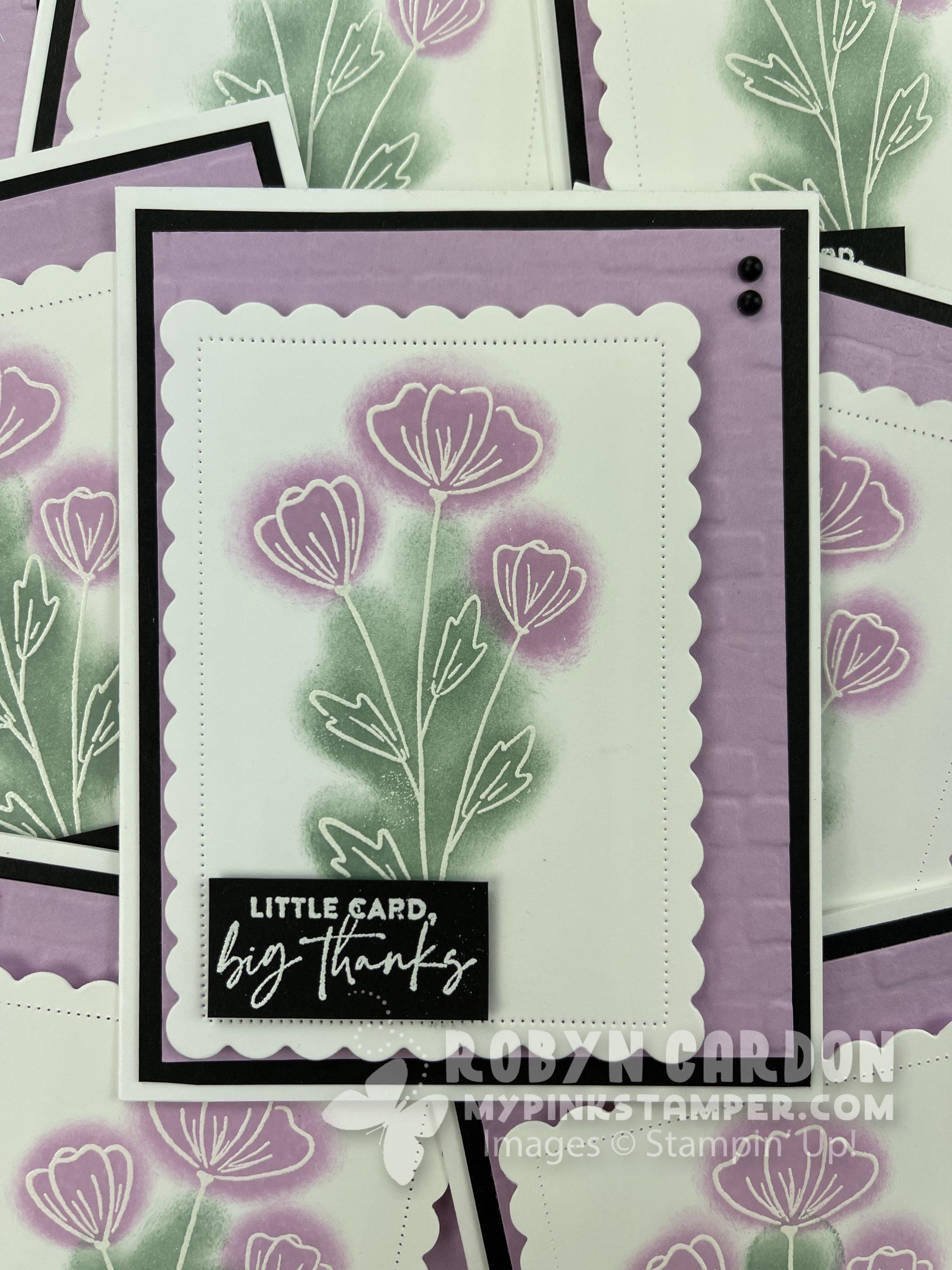 Emboss resist, stampin up flowers of friendship, video tutorial, my pink stamper